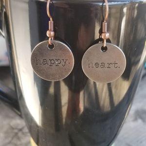 Happy Heart Word Stamped Metal Art Earrings